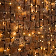 """Гирлянда """"Светодиодный Дождь"""" 2х1,5м, постоянное свечение, темно-зеленый провод, 220В, диоды ТЕПЛО-БЕЛЫЕ"""