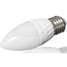 Светодиодная лампа YJ-C37-6W (220V, E27, 6W, 450 lm, свеча) (дневной белый 4000K)